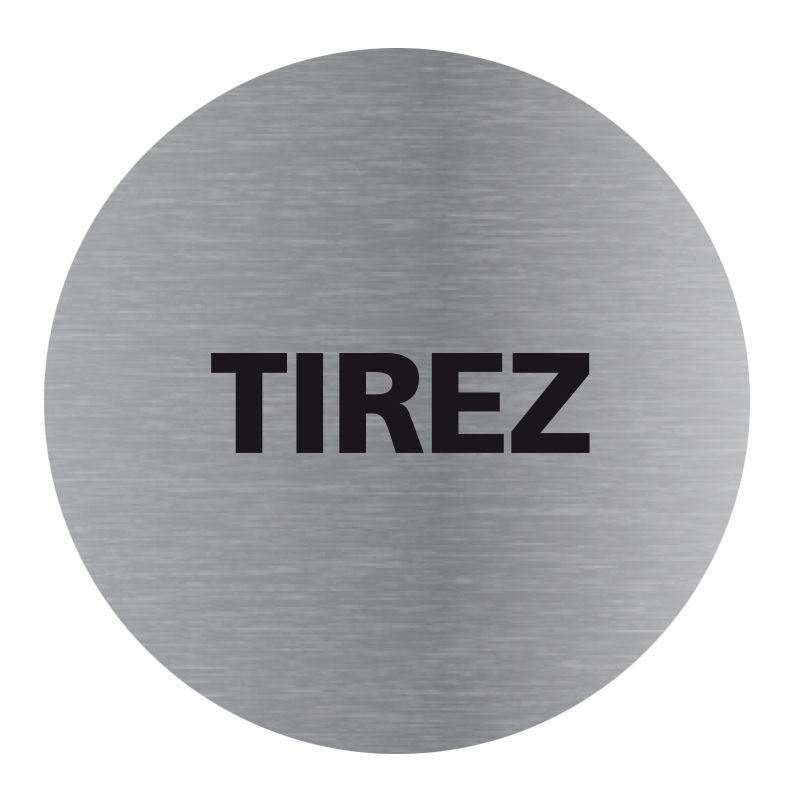 Signalisation plaque de porte aluminium brossé - Plate-up tirez