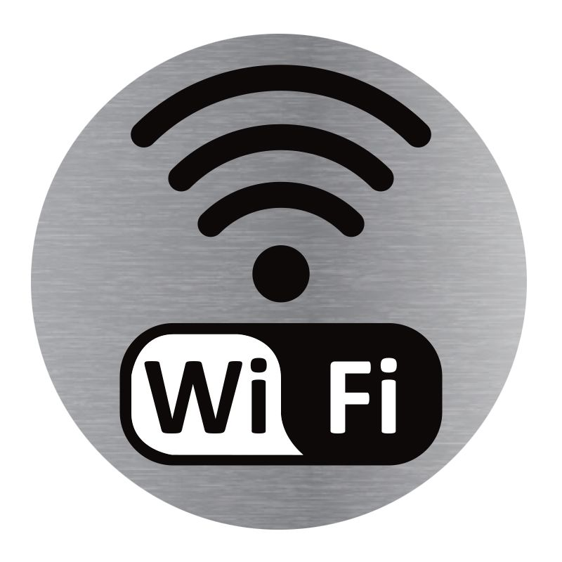 Signalisation plaque de porte aluminium brossé - Plate-up wifi