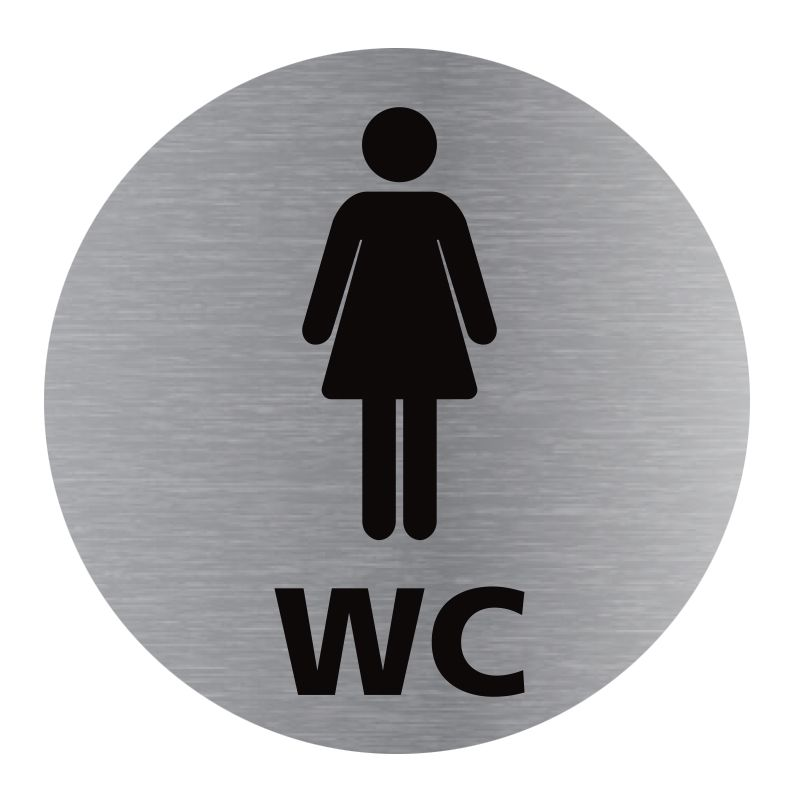 Signalisation plaque de porte aluminium brossé - Plate-up WC femme