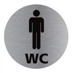 Signalisation plaque de porte aluminium brossé - Plate-up WC homme