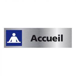 Signalisation plaque de porte aluminium brossé - Accueil