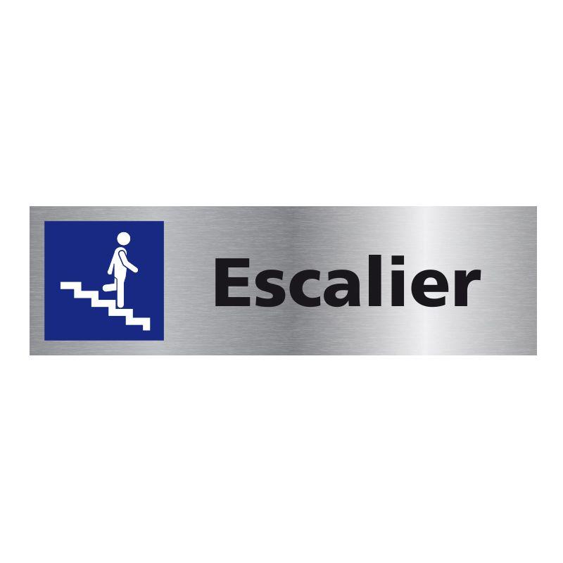 Signalisation plaque de porte aluminium brossé - Escalier