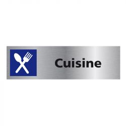 Signalisation plaque de porte aluminium brossé - Cuisine