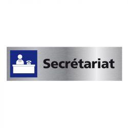 Signalisation plaque de porte aluminium brossé - Secrétariat