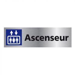 Signalisation plaque de porte aluminium brossé - Ascenseur
