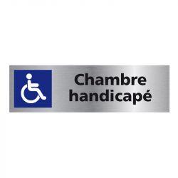 Signalisation plaque de porte aluminium brossé - Chambre handicapé