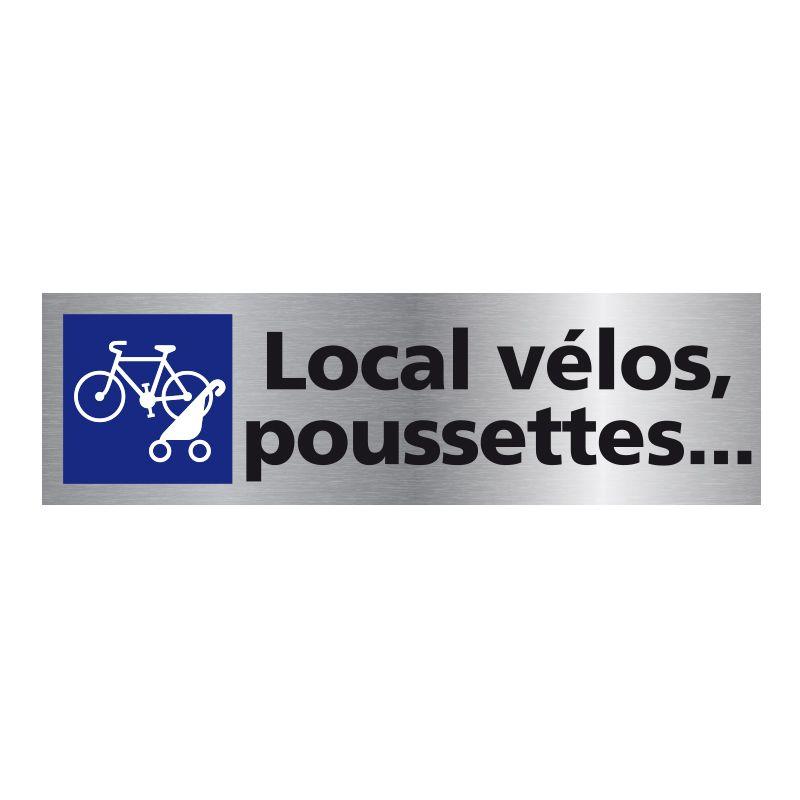 Signalisation plaque de porte aluminium brossé - Local vélos, poussettes ...