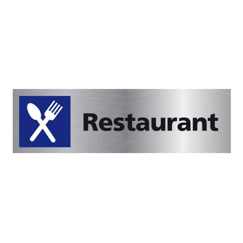Signalisation plaque de porte aluminium brossé - Restaurant