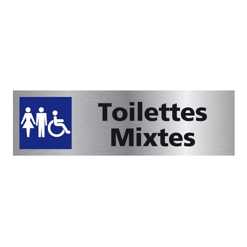 Signalisation plaque de porte aluminium brossé - Toilettes Mixtes