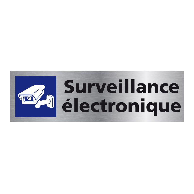 Signalisation plaque de porte aluminium brossé - Surveillance électronique