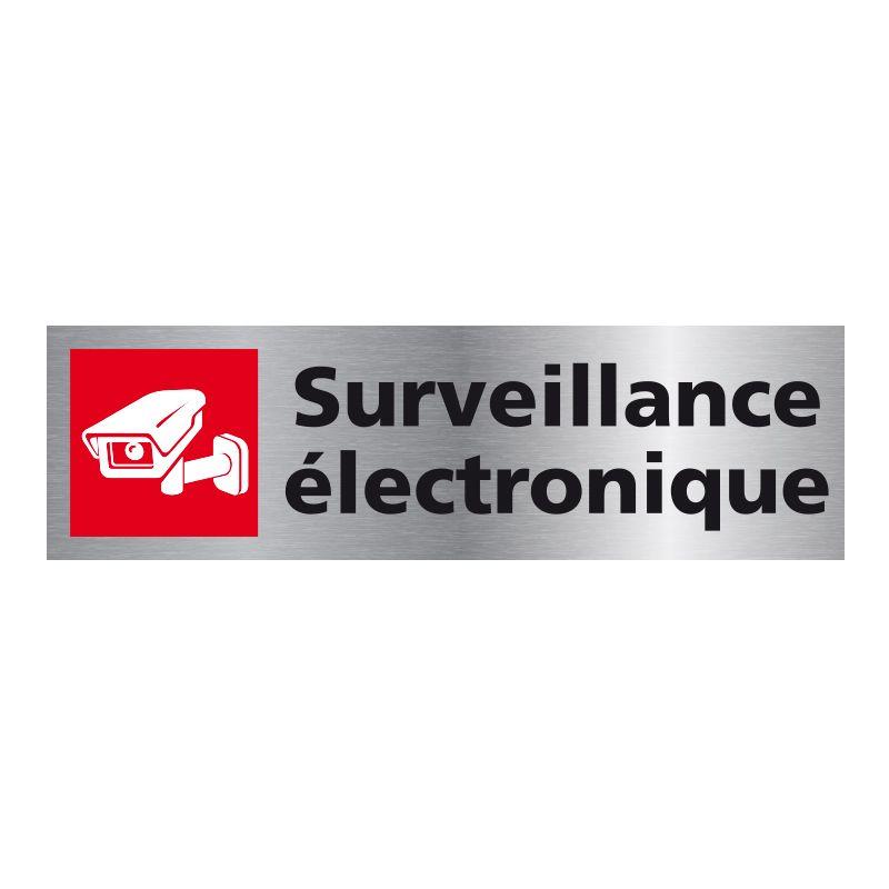 Signalisation plaque de porte aluminium brossé - Surveillance electronique
