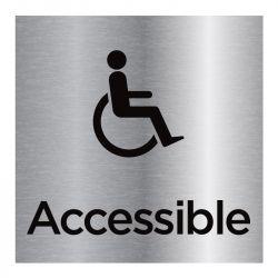 Signalisation plaque de porte aluminium brossé - Accessible handicap