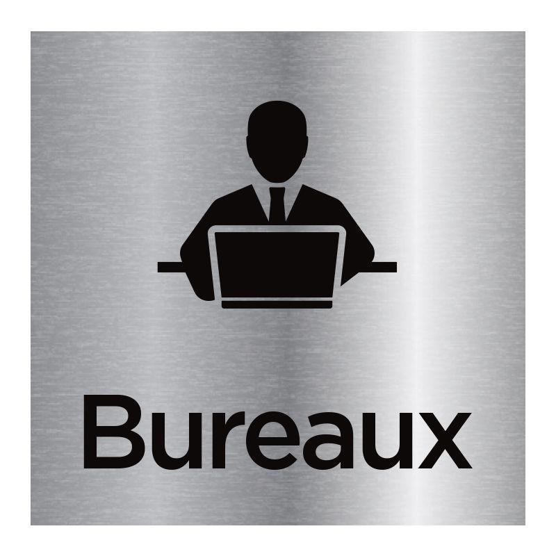 Signalisation plaque de porte aluminium brossé - Bureaux