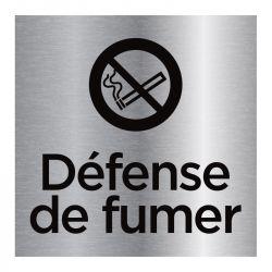 Signalisation plaque de porte aluminium brossé - Défense de fumer