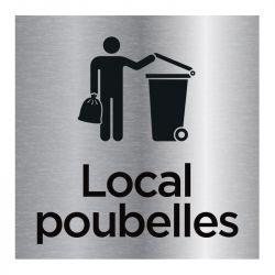 Signalisation plaque de porte aluminium brossé - Local poubelles