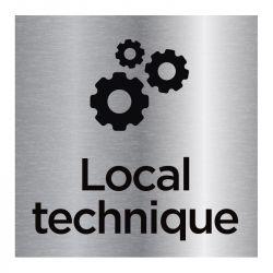 Signalisation plaque de porte aluminium brossé - Local technique
