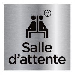 Signalisation plaque de porte aluminium brossé - Salle d'attente