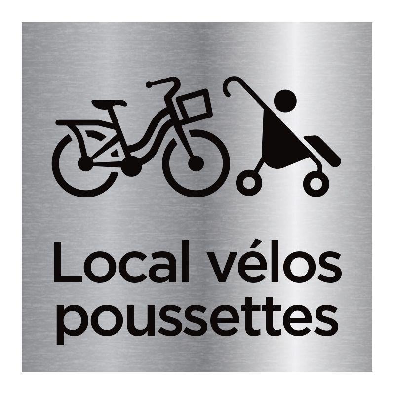 Signalisation plaque de porte aluminium brossé - Local vélos, poussettes