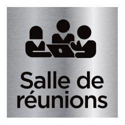 Signalisation plaque de porte aluminium brossé - Salle de réunion