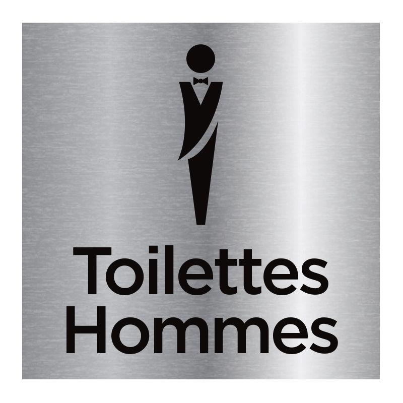 Signalisation plaque de porte aluminium brossé - Toilettes hommes