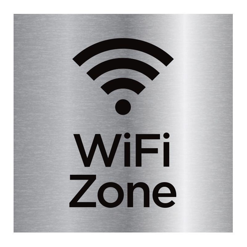 Signalisation plaque de porte aluminium brossé - Zone wifi