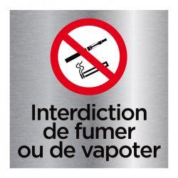 Signalisation plaque de porte aluminium brossé - Interdiction de fumer ou de vapoter