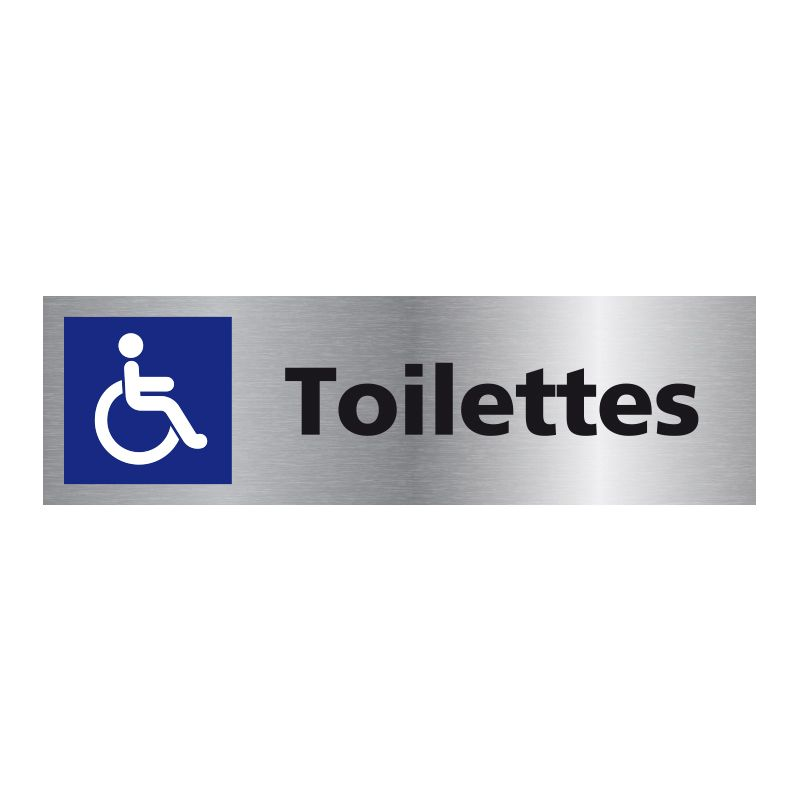 Signalisation plaque de porte aluminium brossé - Toilette handicapé