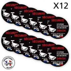 Signalisation de sécurité - Lot de 2 planches de 6 autocollants adhésifs système électronique de sécurité 24h/24 - Police