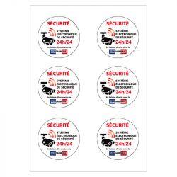 Signalisation de sécurité - Lot de 2 planches de 6 autocollants adhésifs système électronique de sécurité 24h/24 - Gendarmerie