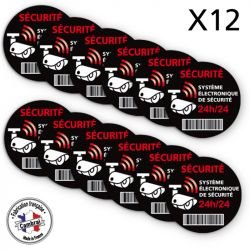 Signalisation de sécurité - Lot de 2 planches de 6 autocollants adhésifs système électronique de sécurité 24h/24 -